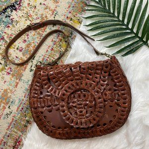 Patricia Nash Brown Leather Pisticci Chainlink Leather Shoulder Bag Cross Body